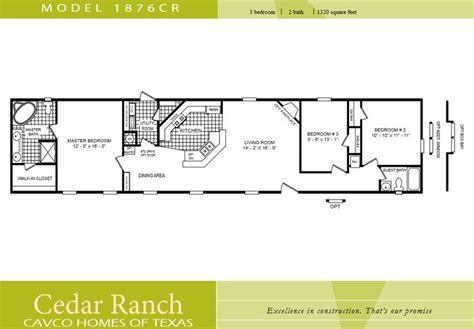 small mobile homes floor plans cavco homes floor plan 1876cr 3 bedroom 2 bath single wide