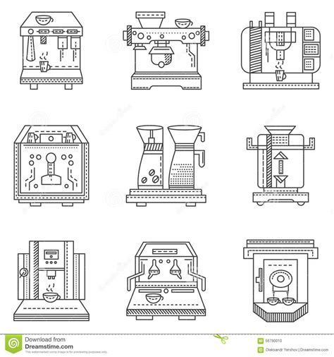 Professional Coffee Machines Flat Line Icons Stock Illustration   Image: 56790010