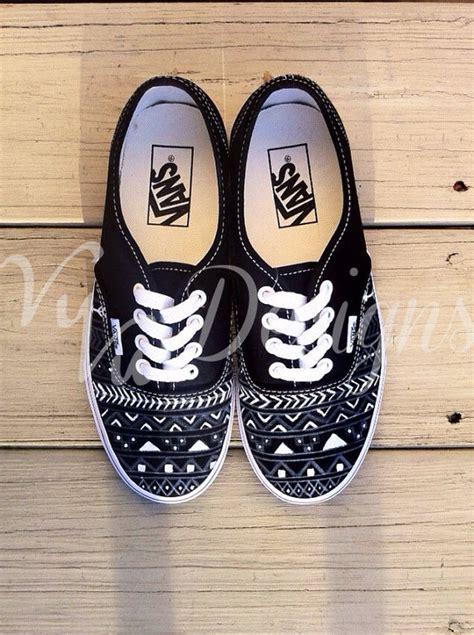 tribal pattern vans shoes black aztec tribal vans by vuvudesigns on etsy