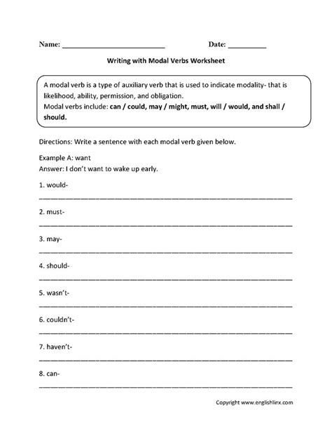 writing with modal verbs worksheets fourth grade