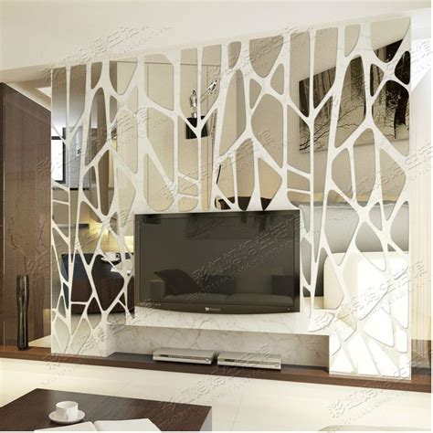 spiegel home decor geometric puzzle irregular mosaic acrylic stereo back ground ceiling mirror sticker creative