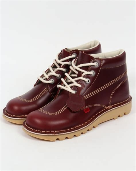 Kickers Shoes Original kickers kick hi boots in leather cherry brown 0