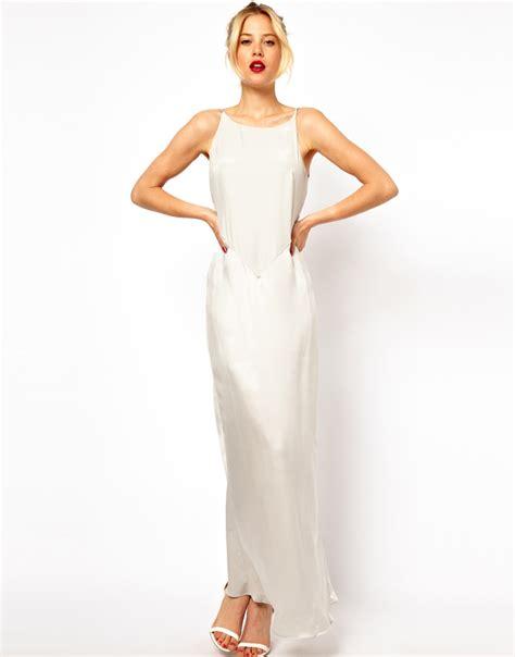 lyst mango silk maxi dress in gray