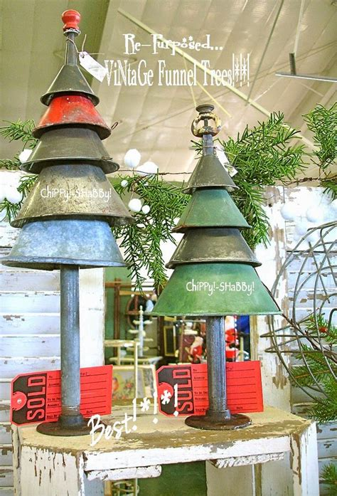 vintage funnel christmas trees chippy shabby idea