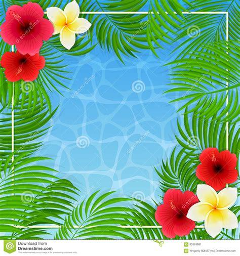 imagenes flores hawaianas flores y hojas de palma hawaianas en fondo del agua