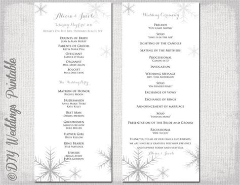 Winter Wedding Program Template Snowflake Wedding Winter Program Template