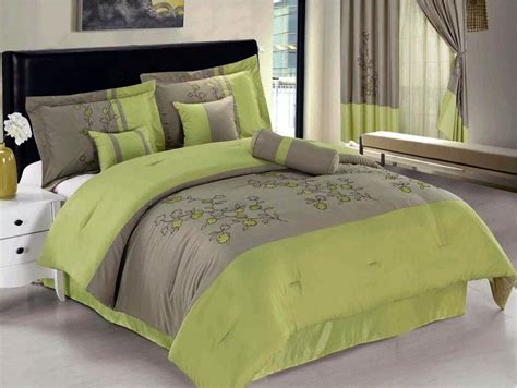 Lime Bedding Sets 7 Pc Embroidered Flower Comforter Set Bed In A Bag Lime Green Beige