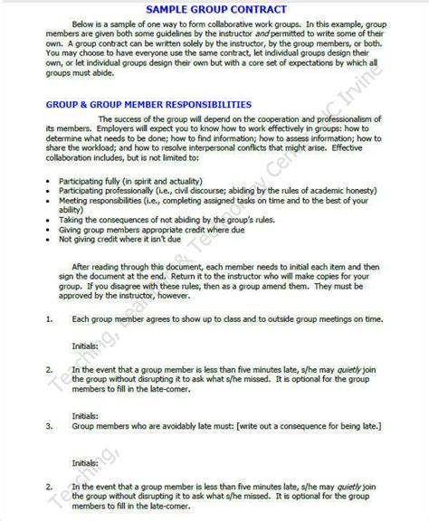 work contract samples templates   word google docs apple pages