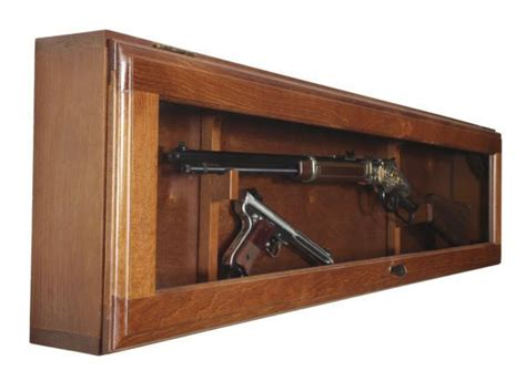horizontal wall mounted cabinet gun collector display cabinet wall mount wood case rifle