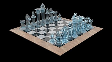 chess set glass model game ready max obj ds fbx mtl cgtradercom