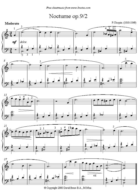 tutorial piano nocturne chopin nocturne op9 no2 sheet music for piano piano