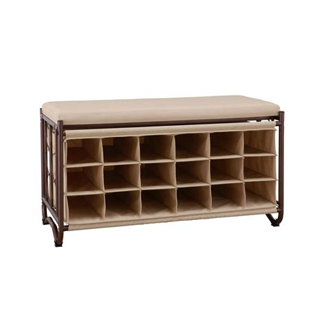 Bench Shoe Rack by Neu Home Brown Beige Shoe Storage Bench 10779wp The Home
