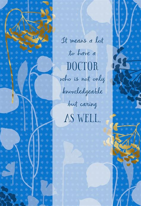 blue  gold flowers   card  doctor greeting