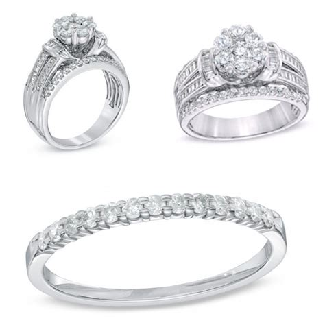 1 1 4 ct t w cluster multi row engagement ring