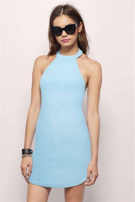 Id 2298 Blue Bodycon Dress trendy light blue bodycon dress backless dress bodycon