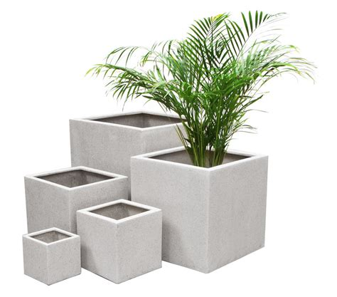 White Outdoor Plant Pots White Polystone Terrazzo Cube Planter Patio Plant Flower