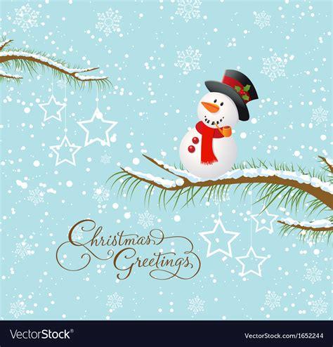 merry christmas card  snowman royalty  vector image