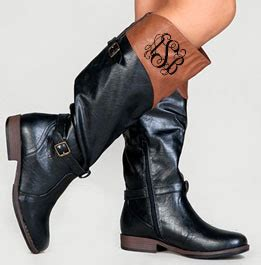 monogrammed two toned colorblock black and brown