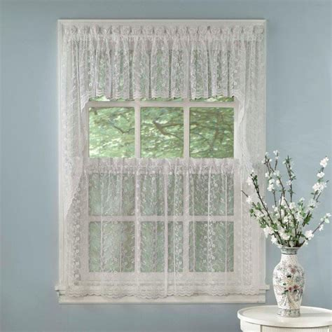 Curtain Valances For Kitchens White Priscilla Lace Kitchen Curtains Tiers Tailored Valance Or Swag Ebay