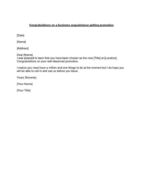 Promotion Business Letter Sle Promotion Congratulations Letter Exle Of A Congratulations Letter To Send To A Business
