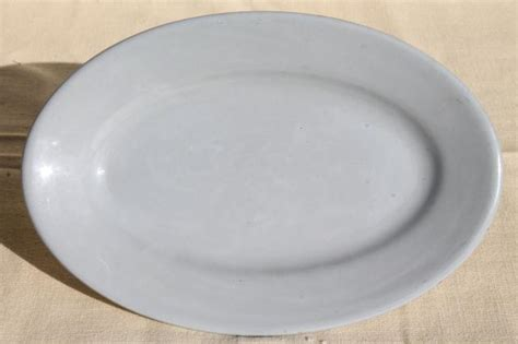 Plate Oval By Abie Kitchenware sky tone lune pale blue buffalo ironstone china platter