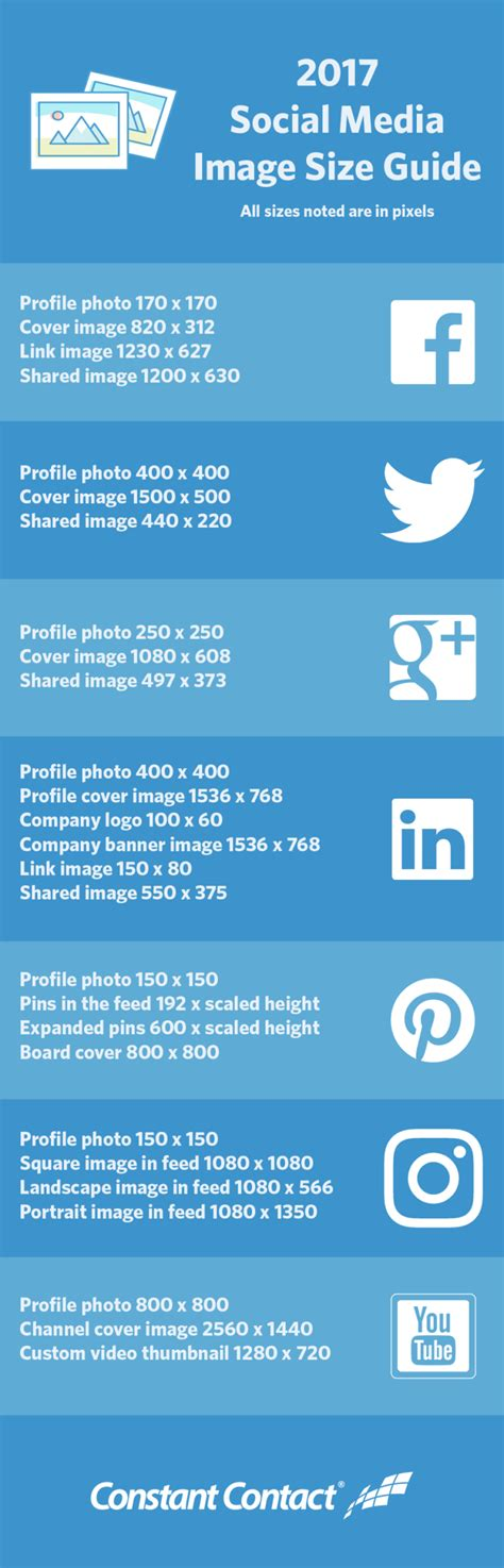 2017 Social Media Image Sizes Cheat Sheet Constant Contact Blogs Social Media Templates 2017