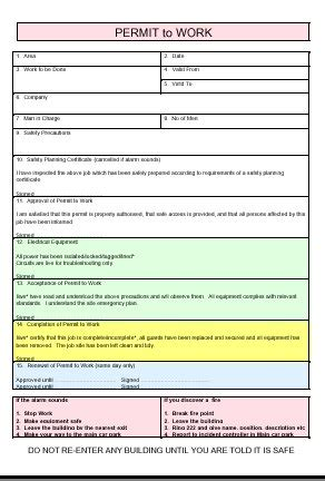 permit to work form template permit to work health safety and environment