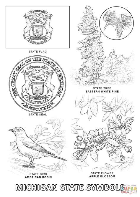 michigan state symbols coloring page free printable