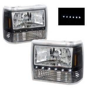ford ranger 1989 1992 black headlights with led