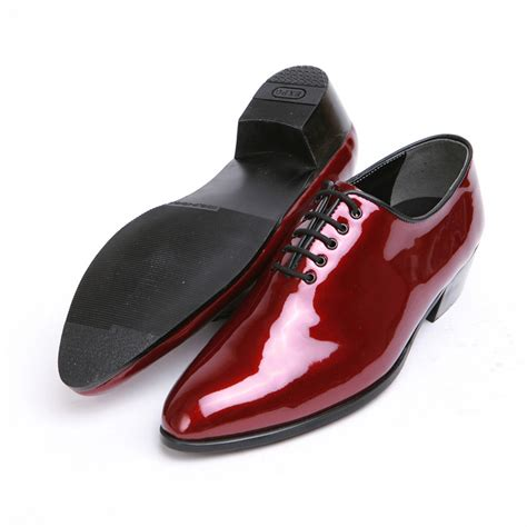 high heel shoes dress up mens glossy wine plain toe lace up high heels oxfords