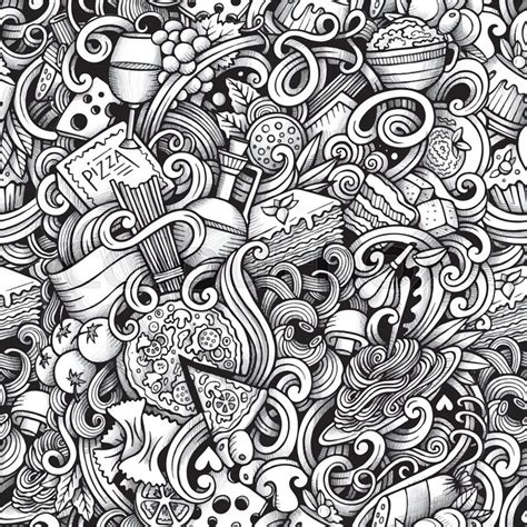 seamless pattern artist cartoon hand drawn italian food doodles seamless pattern