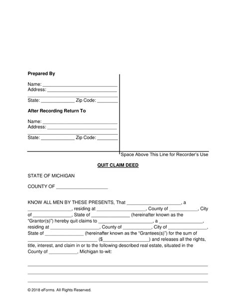 free printable quit claim deed for new york quick claim deed michigan form