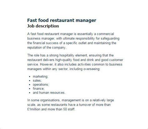 restaurant manager description templates 10 free