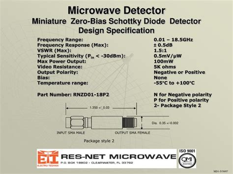 microwave diode ppt ppt microwave detector miniature zero bias schottky diode detector design specification