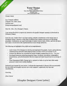 Cover Letter For Graphic Design Application by Graphic Designer Cover Letter Sles Resume Genius