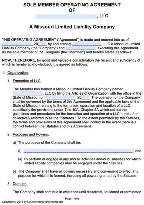 Missouri Single Member Llc Operating Agreement Free Llc Operating Agreements Free Llc Missouri Llc Operating Agreement Template