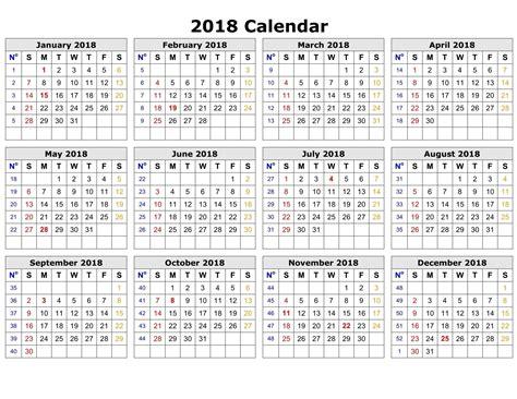 Calendar Weeks 2018 Printable Calendar 2018 Printable Calendar Templates