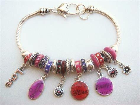 Pandora Inspired Love Serenity Bliss Energy Charm Bead Bracelet, Inspirational Vintage Style