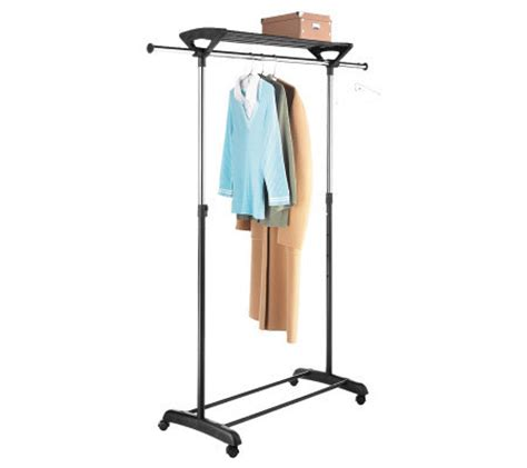 Garment Rack With Top Shelf by Whitmor Chrome Garment Rack With Top Shelf Qvc