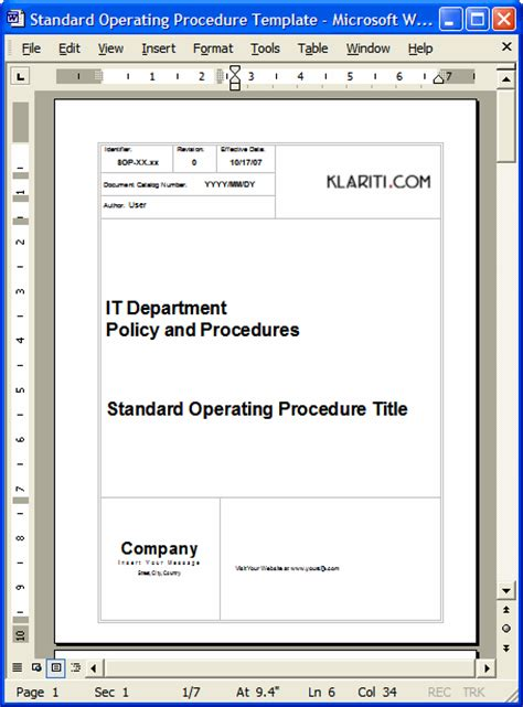 36 Page Standard Operating Procedure Sop Template Ms Word Instant Download Standard Operating Procedure Template Microsoft Word