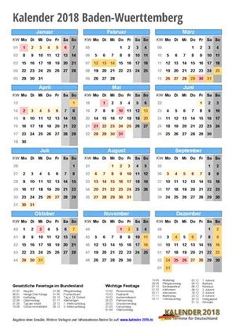Kalender 2018 Feiertage Ferien Bw Kalender 2018 Baden W 252 Rttemberg Zum Ausdrucken 171 Kalender 2018