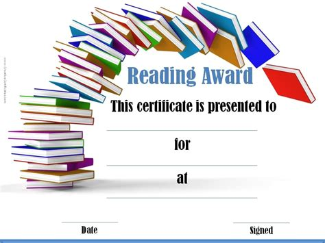 reading certificate template reading awards and certificate templates free customizable