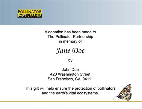 donation in memory of card template donation tribute pollinator org
