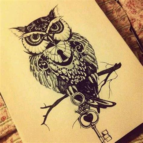 owl tattoo with lock and key meaning owl with key and lock tattoo ideas pinterest