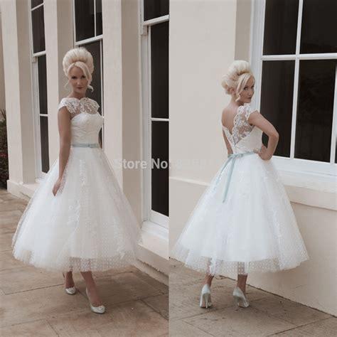 high quality vintage lace short bride dresses tea length