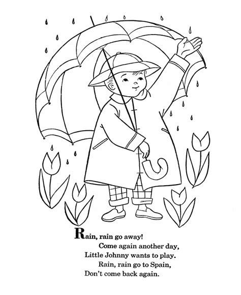 preschool coloring pages rain bluebonkers nursery rhymes coloring page sheets rain