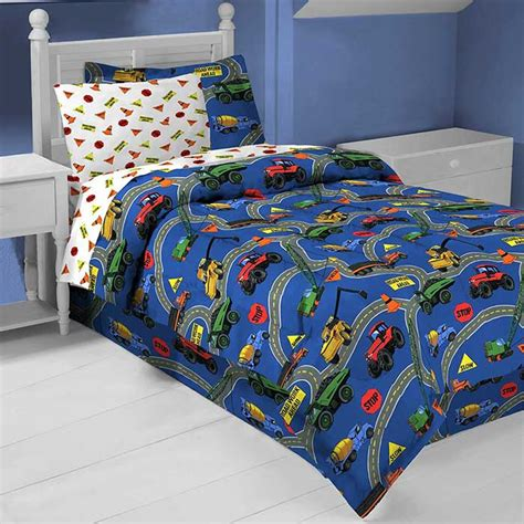 roadworks construction trucks bedding set 6pc comforter