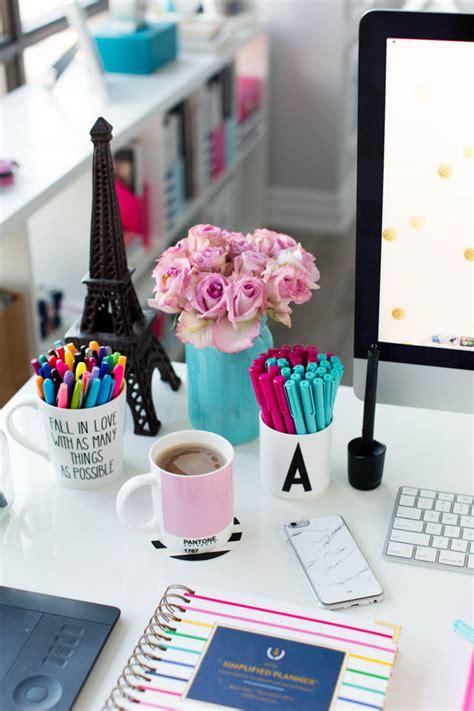 desk decor pink and blue desk accessories simplified planner studio