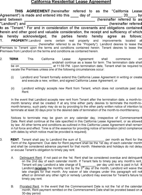 blank lease agreement california download california residential lease agreement 1 for free