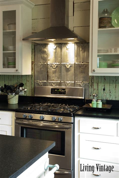 metal roofing backsplash living vintage kitchen reveal backsplash made from salvaged roof tin and beadboard kitchen